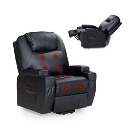 Power Lift Recliner Sofa Chair with Massage and Heating, Luxurious Bonded Leather Lounge Living  ...