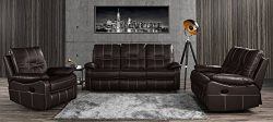 Leather Sofa Set 3 Pieces, Reclining Living Room Couch Set of 3 (Dark Brown)