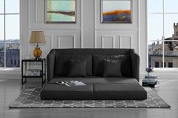 Modern Soft Linen Fabric Modular / Convertible Sleeper Sofa (Dark Grey)