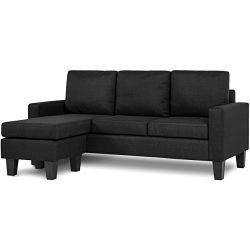 Best Choice Products Multifunctional Linen 3-Seat L-Shape Sectional Sofa Couch w/ Reversible Cha ...