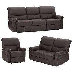 Mr Direct 3PC Motion Sofa Loveseat Recliner Set Living Room Bonded Leather Furniture