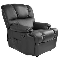 Massage Recliner Chair with Heat and Vibrating, Gentleshower Full Body Leather Massage Chair wit ...