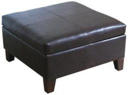 Kinfine Bonded Leather Square Storage Ottoman Coffee Table with Wood Legs, Brown