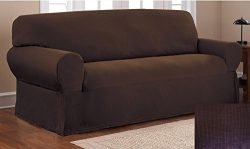 Fancy Collection Sure Fit Stretch Fabric Sofa Slipcover 2 Pc Sofa And Love Seat Covers Solid Bro ...