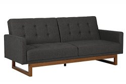 DHP Coral Cables Futon, Mid Century Style, Converts from Sofa to Sleeper, Grey Linen