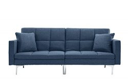 Modern Plush Tufted Linen Split back Living Room Futon, Sofa for Small Space (Blue)