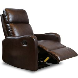 BONZY Recliner Chair Contemporary Chocolate Leather Recliner Chair for Modern Living room Durabl ...