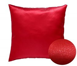 Red 16″ x 16″ Decorative Textured Satin Cushion Cover Throw Square Pillowcase for Ch ...