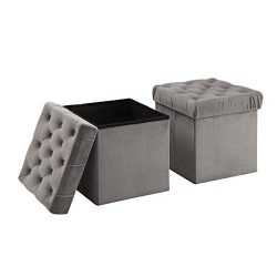 Christies Home Living 2 Piece Foldable Storage Ottoman Cube Foot Rest, Grey