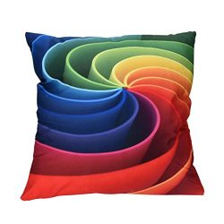 Leyorie Multicolor 3D Print Pillow Cases Polyester Sofa Car Cushion Cover Home Decor (C)