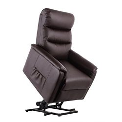 Homedex Power Lift Chair Comfort Lift Recliner Soft PU Leather with Remote (Brown)