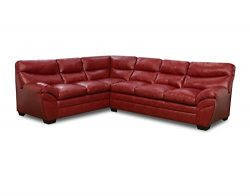 Simmons Upholstery 9515-03R Soho Bonded Leather Sectional Sofa, Soho Cardinal