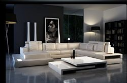Ultra Modern Leather Sectional Sofa with Built in Lights & Headrest Contemporary