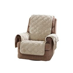 Sure Fit Plush Comfort Furniture Protector with Non Slip Backing, Recliner, Taupe