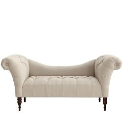 Skyline Furniture Tufted Chaise Lounge in Linen Talc