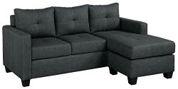 Homelegance Phelps 78″ Tufted Sectional Sofa with Reversible Chaise, Gray