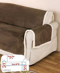 Microsuede & Sherpa Furniture Covers Chocolate Loveseat Cover