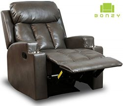 BONZY Recliner Chair Contemporary Theater Seating 2 Cup Holder Grey Leather Chair for Modern Liv ...