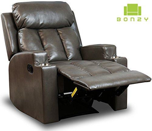 BONZY Recliner Chair Contemporary Theater Seating 2 Cup Holder Grey Leather  Chair For Modern Liv .