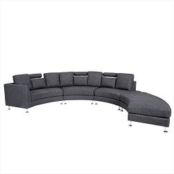 Beliani 11510 Rotunde Round Modern Sectional Upholstered Sofa, Grey