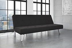 DHP Zany Futon Sofa Bed Sleeper, Durable Microfiber Upholstery and Sturdy Chrome Legs. Adjustabl ...