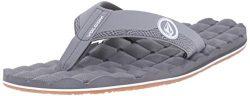 Volcom Men's Recliner Sandal Flip Flop, Light Grey, 11 C/D US