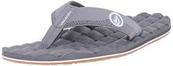 Volcom Men's Recliner Sandal Flip Flop, Light Grey, 13 C/D US