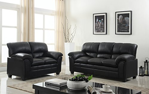 Gtu Furniture New Faux Leather Sofa And Loveseat Living Room Furniture Set Black Gvdesigns