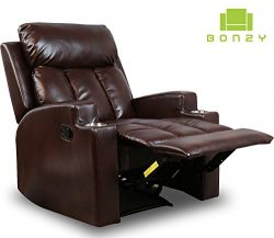 BONZY Recliner Chair Contemporary Theater Seating two Cup Holder Brown Leather Chairs for Modern ...