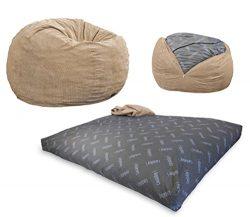 CordaRoy's – Khaki Corduroy Convertible Bean Bag Chair – Full
