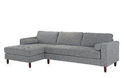 Divano Roma Furniture Mid-Century Modern Tufted Fabric Sectional Sofa, L-Shape Couch with Extra  ...