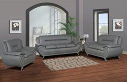 U.S. Livings Anya Modern Living Room Polyurethane Leather Sofa Set (Sofa, Loveseat, and Chair, Grey)