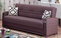BEYAN Alpine Collection Living Room Convertible Folding Sofa Bed with Storage Space, Includes 2  ...