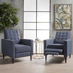 Marston Mid Century Modern Fabric Recliner (Set of 2) (Dark Blue)
