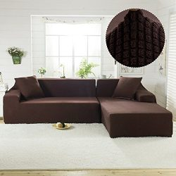 Fannybuy Upgraded Thick Jacquard Stretch Sectional Sofa Covers L Shape Universal Spandex Fabric  ...