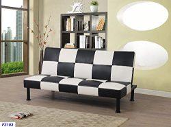 Star Home Furniture Raphael Checkered Futon Convertible Sofa,Black & White