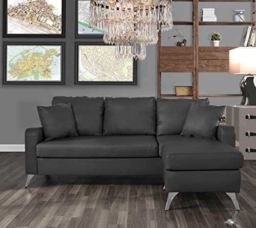 Divano Roma Furniture Bonded Leather Sectional Sofa – Small Space Configurable Couch (Dark ...