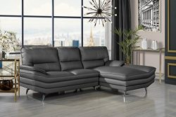 Divano Roma Furniture Living Room Leather Sectional Sofa, L-Shape Couch with Chaise Lounge (Grey)