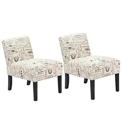 Mr Direct Set of 2 Elegant Design Modern Fabric Accent Dining Chairs