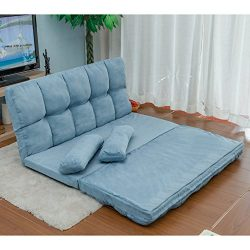 Harper&Bright Designs Double Chaise Lounge Sofa Chair Floor Couch with Two Pillows (Blue)