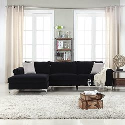 Modern Large Velvet Fabric Sectional Sofa, L-Shape Couch with Extra Wide Chaise Lounge (Black)
