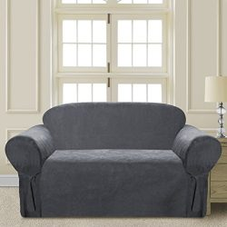 CLEAR OUT SALE Elegant and Comfortable P&R Bedding Microsuede Sofa Furniture Slipcover (Gray ...