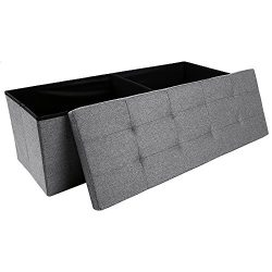 Storage Ottoman,Folding Storage Bench, Linen-like Fabric and Foldable Stool Thickening Sponge fo ...