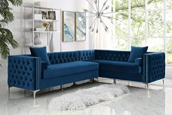 120″ Navy Blue Velvet Corner Sectional Sofa | Button Tufted | Silver Nail-Head Trim | Meta ...