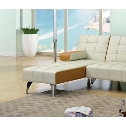 ACME Furniture 57142 Lytton Adjustable Chaise, One Size, Beige & Brown PU