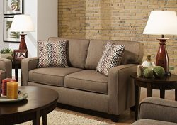Sofab Riley Love Seat With Two Reversible Accent Pillows (Nutmeg)