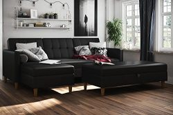 DHP Hartford Storage Sectional Futon  with Interchangeable Chaise and Storage Ottoman, Space-sav ...