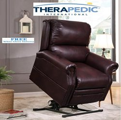 "THERAPEDIC Lift Chair Recliner, The ""Chatham"" with Stunning Nailhead Trim, White Glo ..."