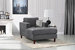 Mid Century Modern Velvet Fabric Living Room Chaise Lounge (Grey)