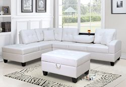 GTU Furniture Pu Leather Living Room Sectional Sofa Set in Black/White (WITH OTTOMAN, WHITE)